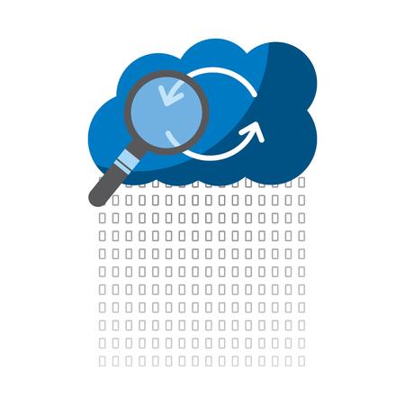 Archiviazione di dati binari cloud che ospita l'illustrazione di vettore di analisi del codice di ricerca Archivio Fotografico - 90323962