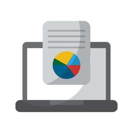 laptop computer screen document file graph diagram vector illustration Illustration