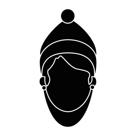 Tête de belle femme avec des vêtements d'hiver vector illustration design Banque d'images - 90326620