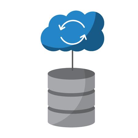 インターネット クラウド ストレージ ・ コンピューティング ・ ネットワーク接続記号ベクトル イラストと web ホスティング サーバー  イラスト・ベクター素材