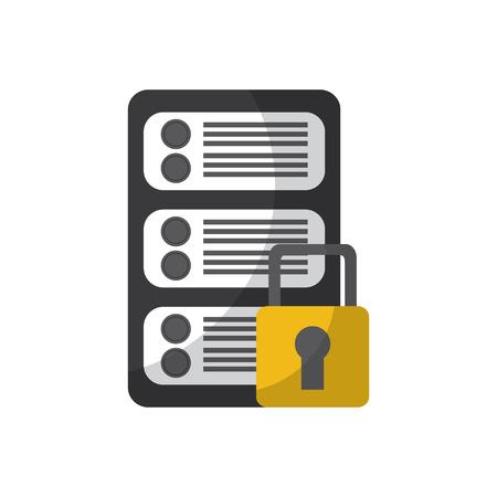 Sécurité réseau de données de centre de données numérique illustration vectorielle Banque d'images - 90326628