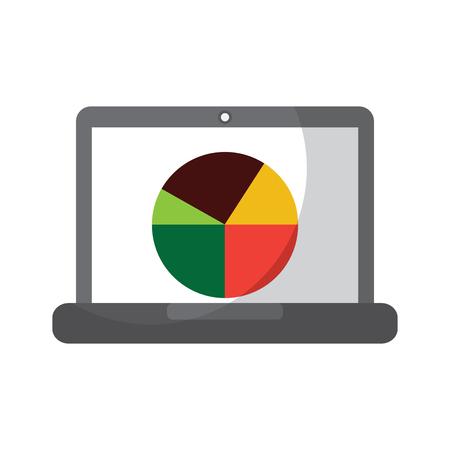 laptop computer screen diagram pie chart statistics business vector illustration