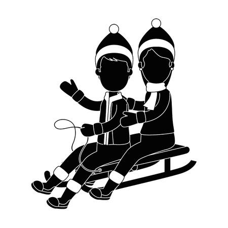 couple on snow sled vector illustration design Illustration