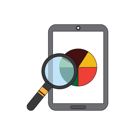 mobile phone and pie chart statistics magnifier digital vector illustration Illustration