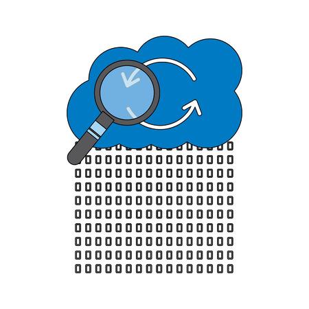 binary data cloud storage hosting search code analysis vector illustration Illustration