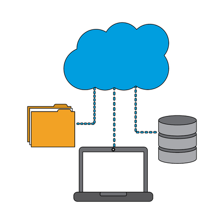 laptop computer connection cloud folder and data base technology vector illustration Illustration