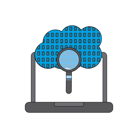 laptop cloud binary search process storage info vector illustration Çizim
