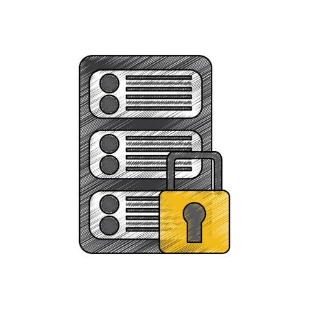 server security safety lock web hosting icon image vector illustration design  Illustration