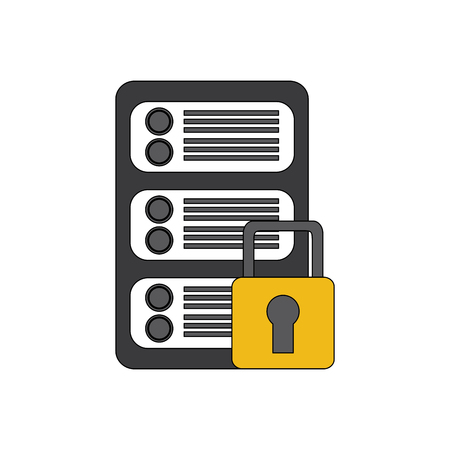 security protection data center network digital vector illustration