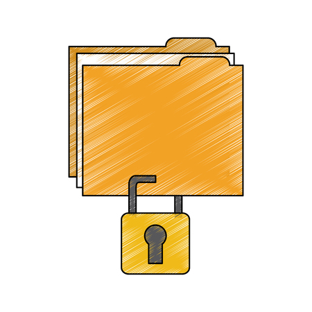 file folder with safety lock  icon image vector illustration design