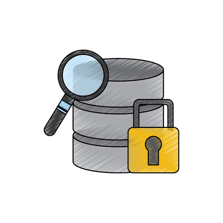 database search safety lock data center icon image vector illustration design  Illustration