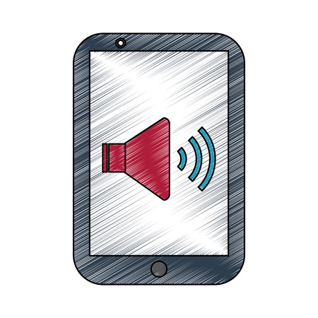 smartphone with speaker on screen icon image vector illustration design