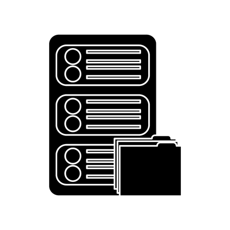 server with file folder web hosting icon image vector illustration design  black and white 向量圖像