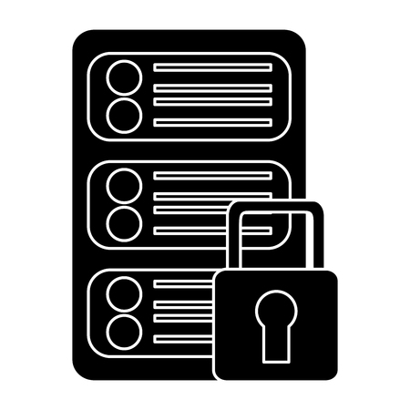 server security safety lock web hosting icon image vector illustration design  black and white