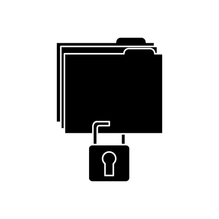 file folder with safety lock  icon image vector illustration design  black and white