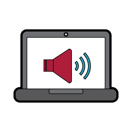 laptop computer with speaker on screen  icon image vector illustration design