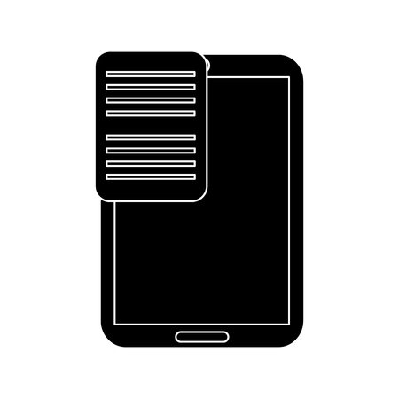 smartphone with document on screen  icon image vector illustration design  black and white
