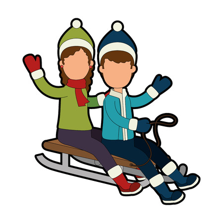 couple on snow sled vector illustration design Ilustração