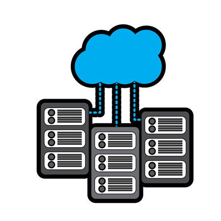 set of data base server cloud connect binary development process vector illustration
