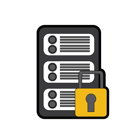 Sécurité réseau de données de centre de données numérique illustration vectorielle Banque d'images - 90327451
