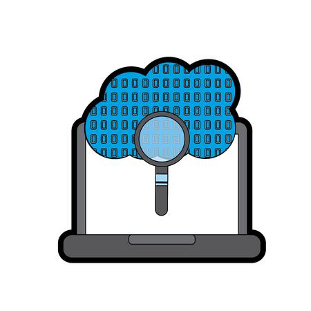 ラップトップ クラウド バイナリ検索プロセス ストレージ情報ベクトル図  イラスト・ベクター素材