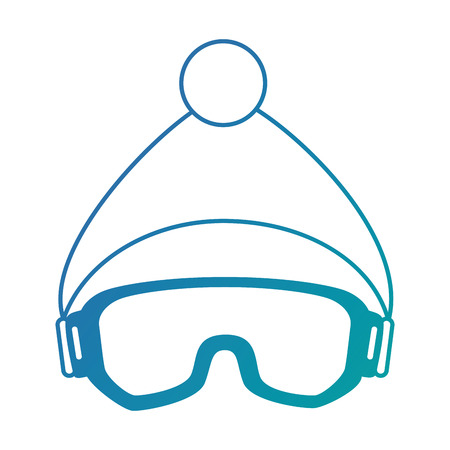 ski goggles and hat vector illustration design