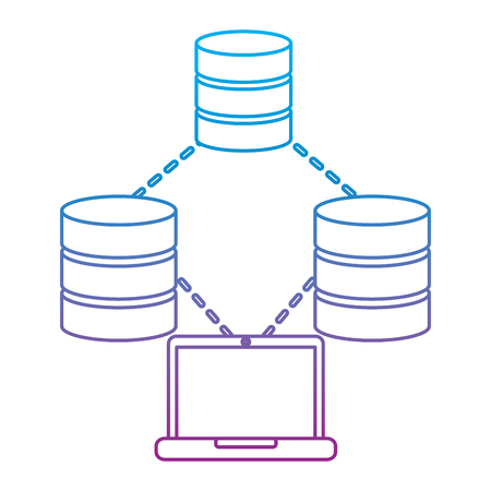 Technologie informatique technologie stockage stockage de stockage de stockage et le processus illustration vectorielle Banque d'images - 90327500