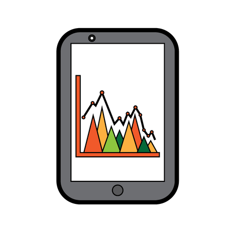 mobile business graph chart device technology vector illustration