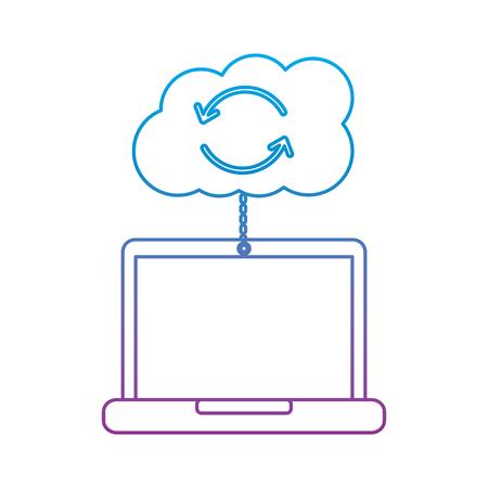 cloud laptop data connection binary hosting information vector illustration Illustration