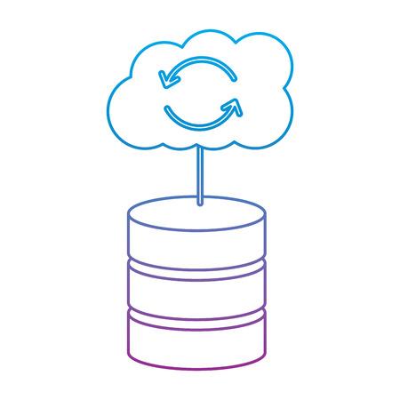 web hosting server with internet cloud storage computing network connection sign vector illustration