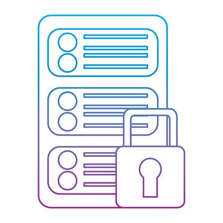 security protection data center network digital vector illustration Çizim