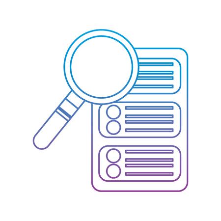 data base center server magnifier search system technology vector illustration