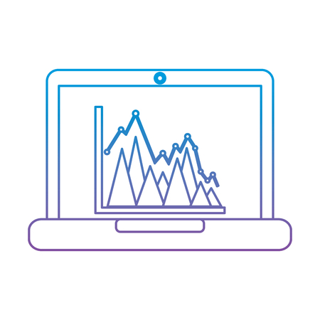 laptop computer screen financial business chart graph vector illustration