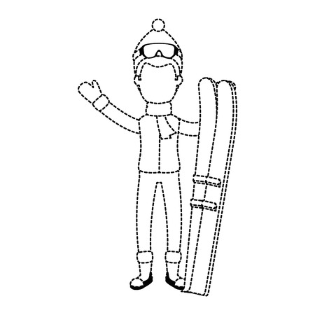 young man with ski equipment vector illustration design