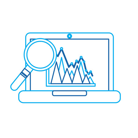 laptop information graph diagram viewed through a magnifying glass vector illustration Vectores