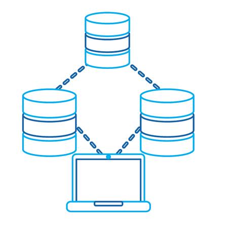 laptop technologie data base centrum verbinding opslag en proces vector illustratie