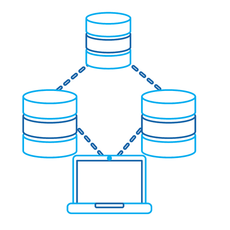laptop technology data base center connection storage and process vector illustration