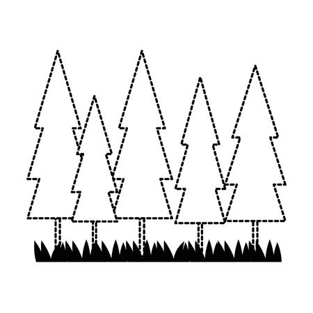 pine forest scene icon vector illustration design
