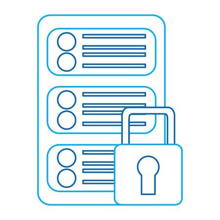 server security safety lock web hosting icon image vector illustration design  blue line