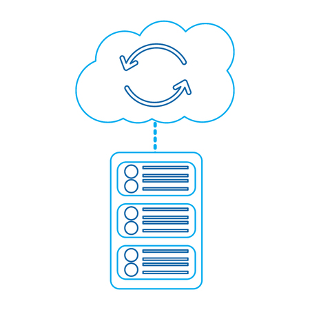 server with cloud storage web hosting icon image vector illustration design  blue line Stock Vector - 90329569