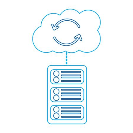 server with cloud storage web hosting icon image vector illustration design  blue line