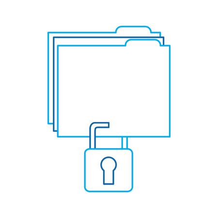 file folder with safety lock  icon image vector illustration design  blue line
