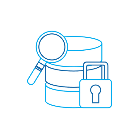 database search safety lock data center icon image vector illustration design  blue line Illustration