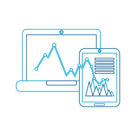 graph-grafiek op laptop en mobiel scherm pictogram afbeelding vector illustratie ontwerp blauwe lijn Stock Illustratie