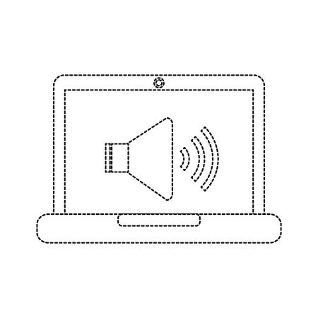 speaker on computer screen icon image vector illustration design  black dotted line