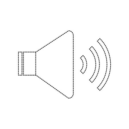 speaker sound on icon image vector illustration design  black dotted line