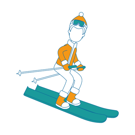 young man skiing with winter clothes vector illustration design