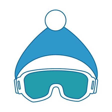スキーのゴーグルと帽子ベクトル イラスト デザイン