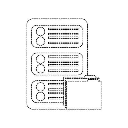 server with file folder web hosting icon image vector illustration design  black dotted line Illustration
