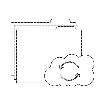 file folder with cloud storage icon image vector illustration design  black dotted line
